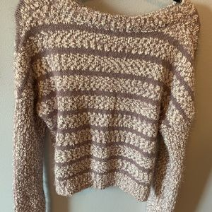 Sweaters - purple and white sweater